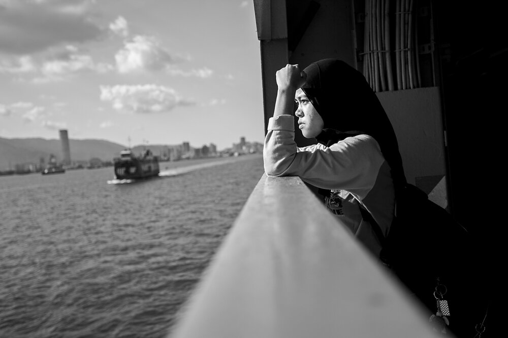 Malaysia, 2012. A girl on a ferry from Butterworth to Penang.